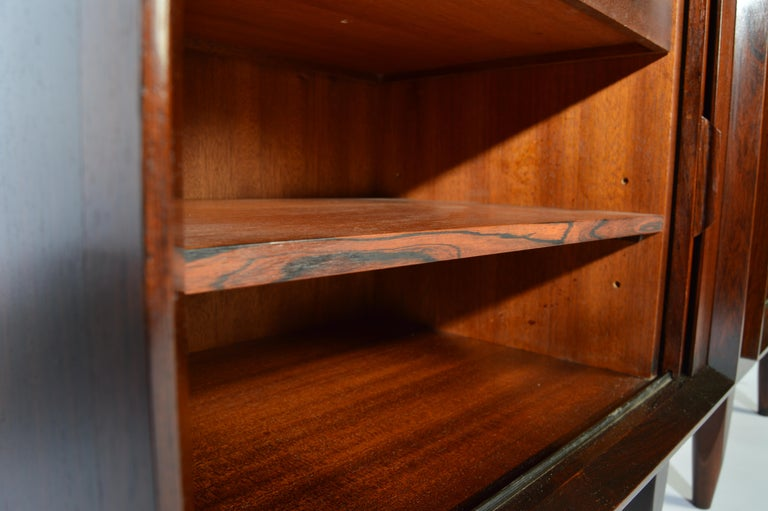 Arne Wahl Iversen Brazilian Rosewood Nightstands Having Tambour Doors In Good Condition For Sale In Southampton, NJ