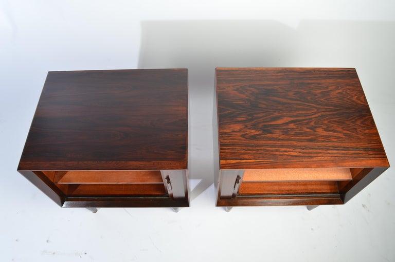 Arne Wahl Iversen Brazilian Rosewood Nightstands Having Tambour Doors For Sale 1