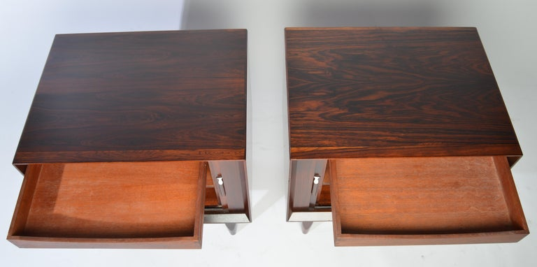 Arne Wahl Iversen Brazilian Rosewood Nightstands Having Tambour Doors For Sale 2