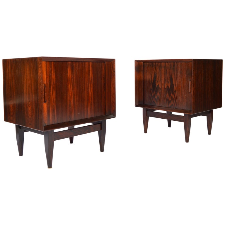 Arne Wahl Iversen Brazilian Rosewood Nightstands Having Tambour Doors For Sale