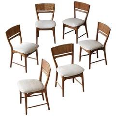 Arne Wahl Iversen, Dining Chairs, Oak, Cane, Fabric Sorø Stolefabrik, 1957