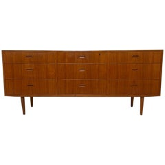Arne Wahl Iversen for Falster Danish Teak Nine-Drawer Dresser, circa 1960s