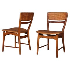 Arne Wahl Iversen Pair of Side Chairs, Cane and Leather