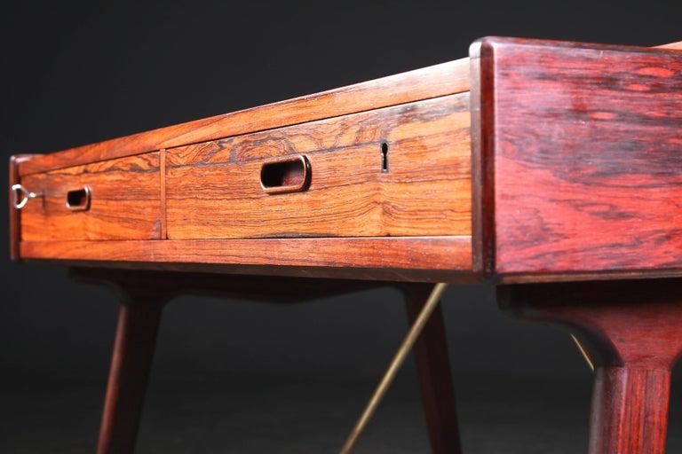 Brass Arne Wahl Iversen Rosewood Desk, 1970 For Sale