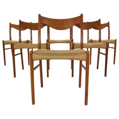 "Arne Wahl Iversen Set of 6 Dining Room Chairs ""GS60"" for Glyngøre Stolefabrik"