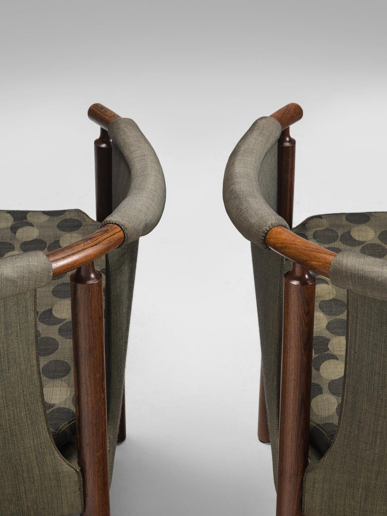 Fabric Arne Wahl Iversen Set of Rosewood Armchairs For Sale
