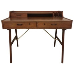 "Arne Wahl Iversen Teak & Brass Desk Model ""56"" Ladies Desk, Denmark, circa 1960"