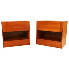 Arne Wahl Iversen Teak Danish Modern Nightstands End Side Tables, Pair