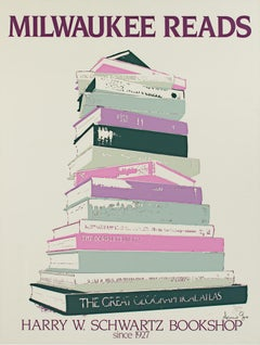 """Milwaukee Reads--Harry W. Schwartz Bookshop,"" Silkscreen Poster by Arnold Gore"