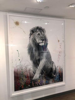 Regero - Hand-embellished photo Lion, Maasai Mara National Reserve - Arno Elias