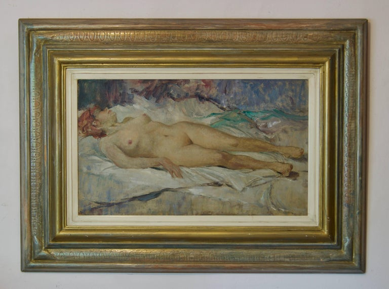 Nude Woman - Mid 20th Century Nude Still Life Oil Painting by Arnold Beauvais For Sale 1