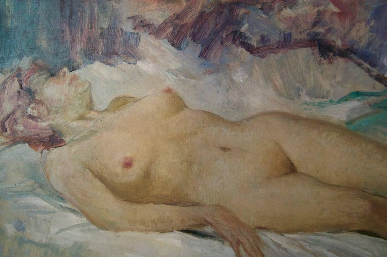 Nude Woman - Mid 20th Century Nude Still Life Oil Painting by Arnold Beauvais For Sale 2