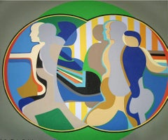 Mirror Image (Green), Large Painting by Arnold Belkin