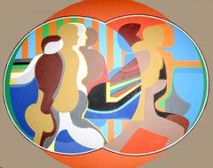 Mirror Image (Orange), Large Painting by Arnold Belkin