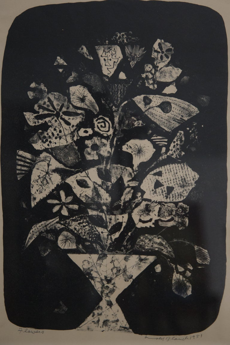"""Offered is a good example of Arnold Blanch's experimentation with printmaking potentials. This work is entitled """"Flowers"""" and was one of the successful experiments in printmaking that helped earn Blanch his reputation. His paintings are in the"""