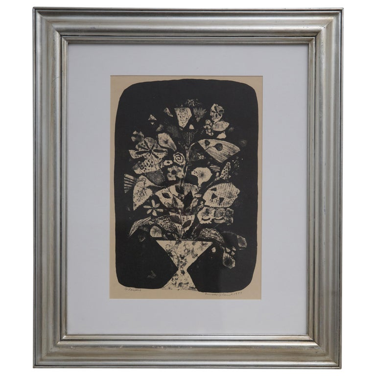 """Arnold Blanch Pencil Signed Monoprint """"Flowers"""" Dated 1951"""
