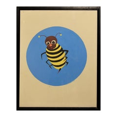 Colorful Blue, Yellow, and Black Bumble Bee Pop Art Insect Painting