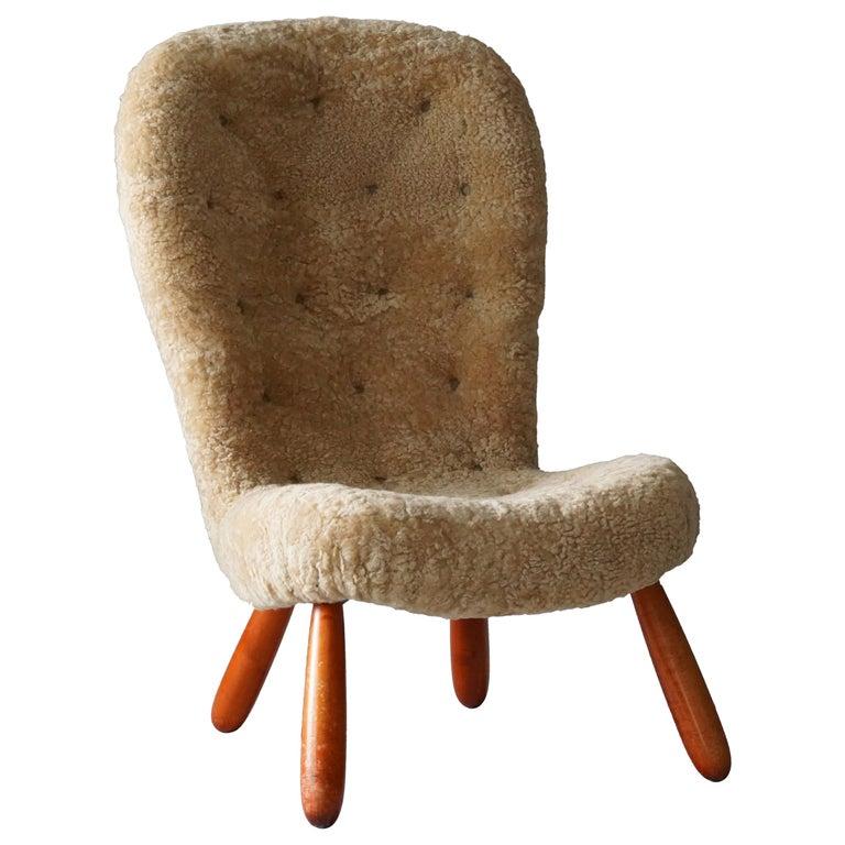 "Arnold Madsen 'Attribution', ""Clam"" Lounge Chair, Sheepskin, Wood, Sweden, 1950s"