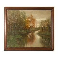 """Arnold Marc Gorter Oil on Canvas 20"""" x 25.5"""" Signed """"Vordense Beek"""""""