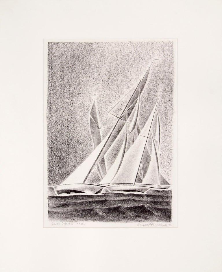 Yacht Races, Grand Lake, Colorado, 1933, Sailboats, Black & White lithograph - Print by Arnold Ronnebeck