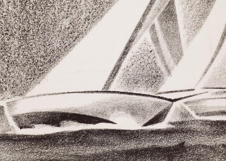 Yacht Races, Grand Lake, Colorado, 1933, Sailboats, Black & White lithograph - American Modern Print by Arnold Ronnebeck
