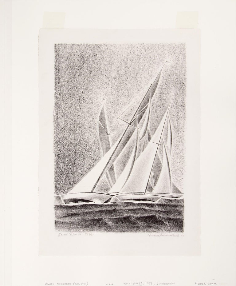 Yacht Races, Grand Lake, Colorado, 1933, Sailboats, Black & White lithograph - Beige Figurative Print by Arnold Ronnebeck