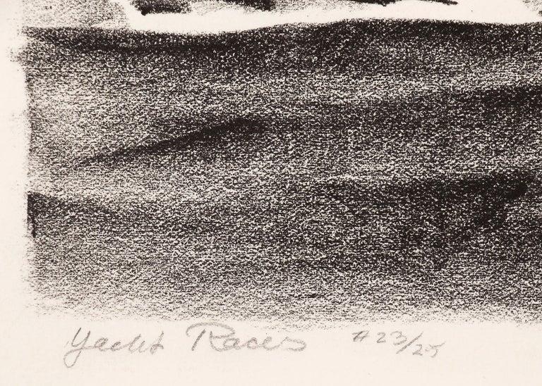 Yacht Races, Grand Lake, Colorado, 1933, Sailboats, Black & White lithograph For Sale 1