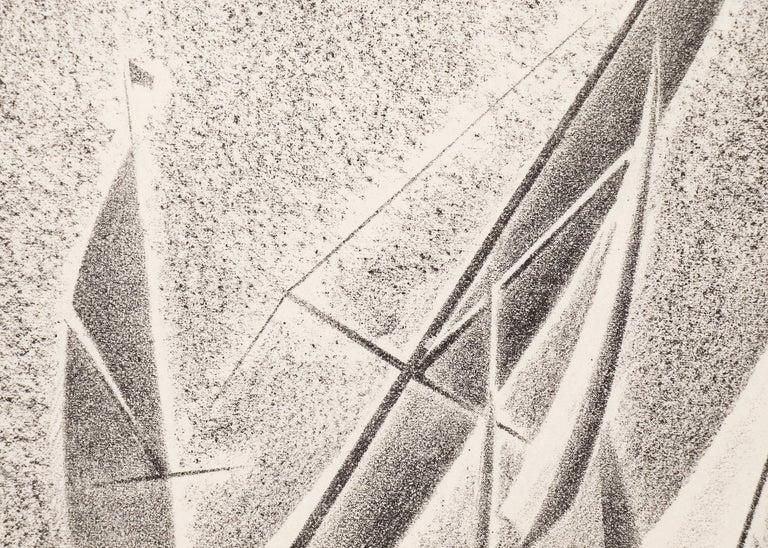 Yacht Races, Grand Lake, Colorado, 1933, Sailboats, Black & White lithograph For Sale 2