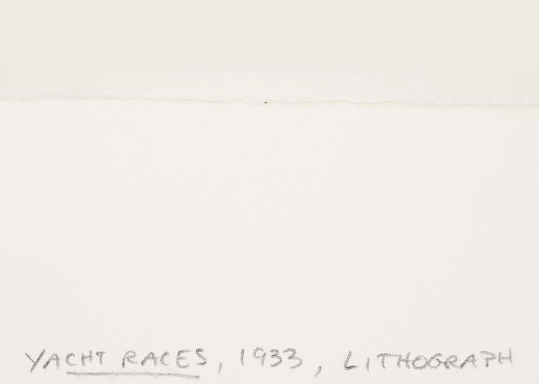 Yacht Races, Grand Lake, Colorado, 1933, Sailboats, Black & White lithograph For Sale 4