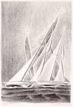 Yacht Races, Grand Lake, Colorado, 1933, Sailboats, Black & White lithograph