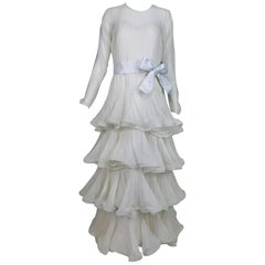 Arnold Scaasi Couture White Silk Chiffon Tiered Wedding Dress 1980s