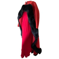 Arnold Scaasi Dramatic Red Opera Cape Trimmed in Black Fox