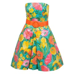 Arnold Scaasi Sequins Covered  Colorful Cotton Floral Dress