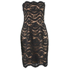 Arnold Scaasi Vintage Nude / Black Floral Lace Mini Cocktail Party Dress, 1990s