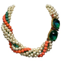 Arnold Scassi 1980s Torsade Necklace with Jeweled Clasp