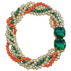 Arnold Scassi 1980s Torsade Coral, Malachite & Pearl Necklace & Jeweled Clasp
