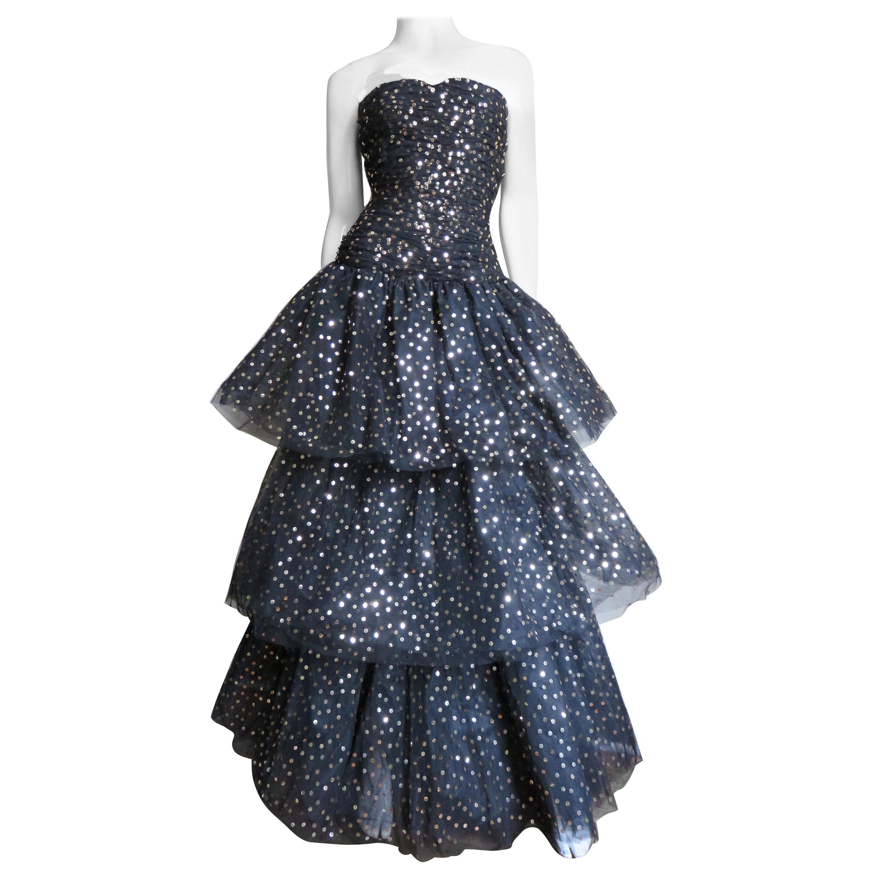 Arnold Scassi Boutique Strapless Sequin Tulle Gown and Wrap