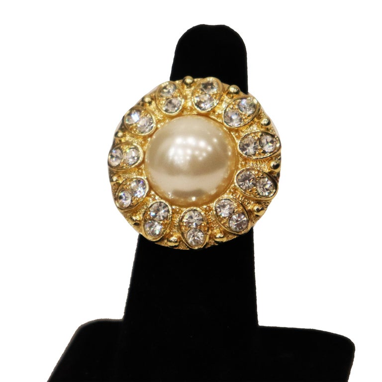 Women's Arnold Scassi Faux Gold-tone Pearl & Rhinestone Earrings/Ring 1980s For Sale