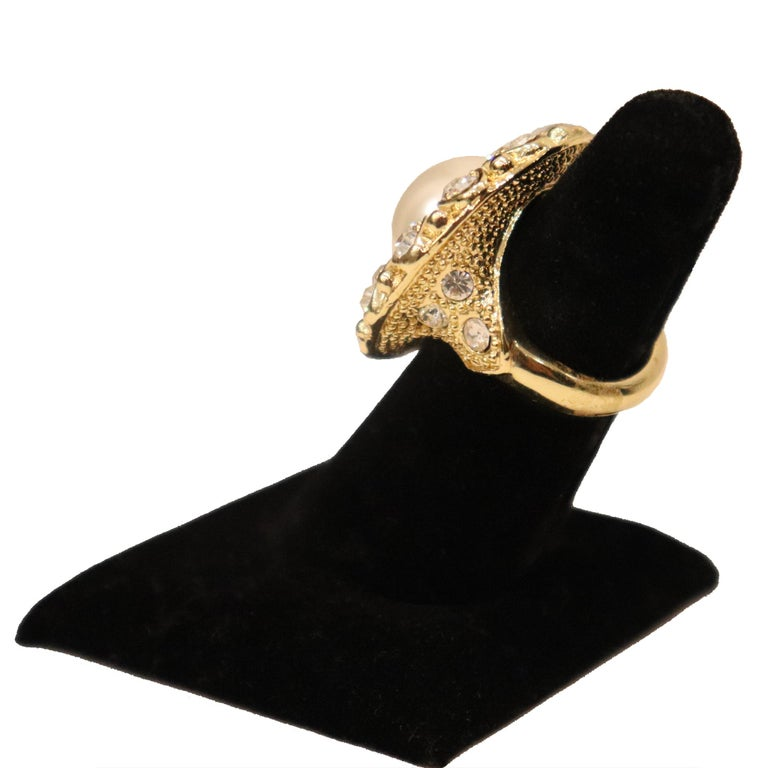 Arnold Scassi Faux Gold-tone Pearl & Rhinestone Earrings/Ring 1980s For Sale 1