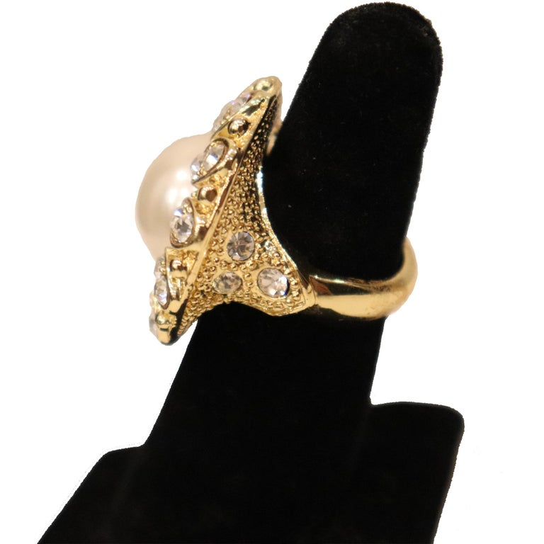 Arnold Scassi Faux Gold-tone Pearl & Rhinestone Earrings/Ring 1980s For Sale 2