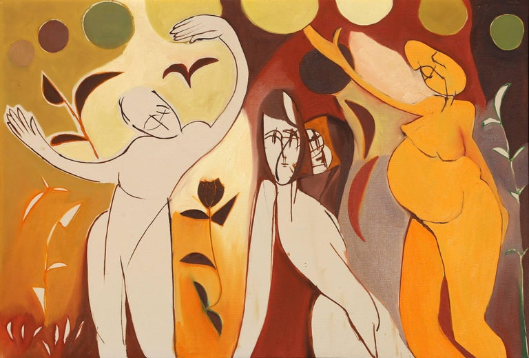 Artist: Arnold Weber, American (1931 - 2010) Title: Three Abstract Figures Year: circa 1970 Medium: Oil on Canvas Size: 30  x 44 in. (76.2  x 111.76 cm)