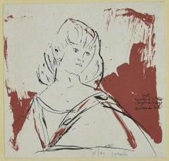 Portrait  - Original China ink onLithograph by Arnoldo Ciarrocchi - 20th Century