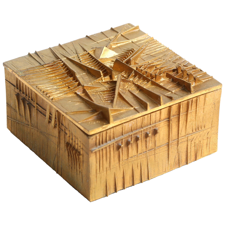 """Arnoldo Pomodoro Gilt Bronze Box """"Le Coffret"""""""