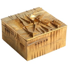 "Arnoldo Pomodoro Gilt Bronze Box ""Le Coffret"""