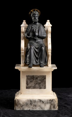 Figurative Sculpture of St Peter Bronze Marble Grand Tour After the Antique 20th