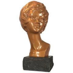 Arnova Golden Plaster Bust of Brigitte Bardot, 1950s