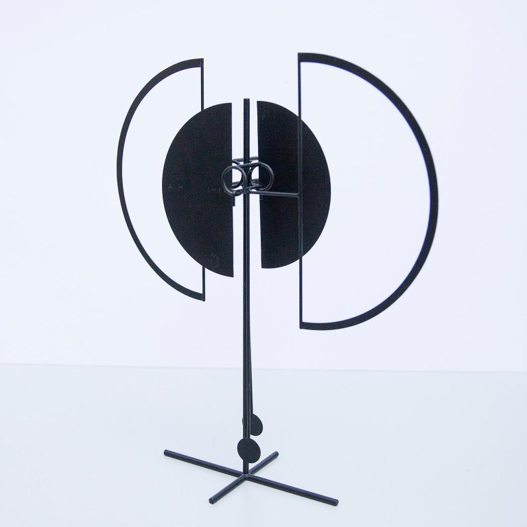Kinetic pendulum object, made of black painted iron. Signed and dated with stamp: AH 69. Arnulf Hoffmann is a German creative visual artist. Arnulf Hoffmann was born in 1935. Also born in 1935 and of this same generation are Biagio Civale, Lieva