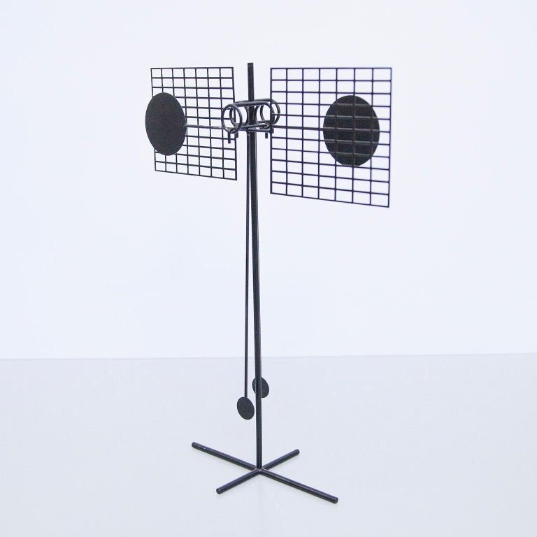 Kinetic pendulum object, made of black painted iron. Signed and dated with stamp: AH 73. Arnulf Hoffmann is a German creative visual artist. Arnulf Hoffmann was born in 1935. Also born in 1935 and of this same generation are Biagio Civale, Lieva