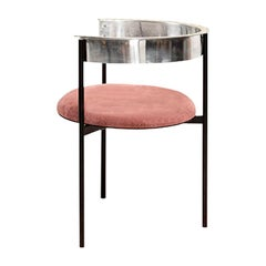 ARO Chair with Back Rest, Velvet Seat & Steel Legs by Ries