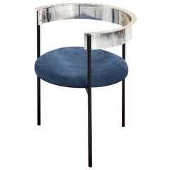 ARO Contemporary Chair in Steel and Aluminum with Velvet Upholstery by Ries